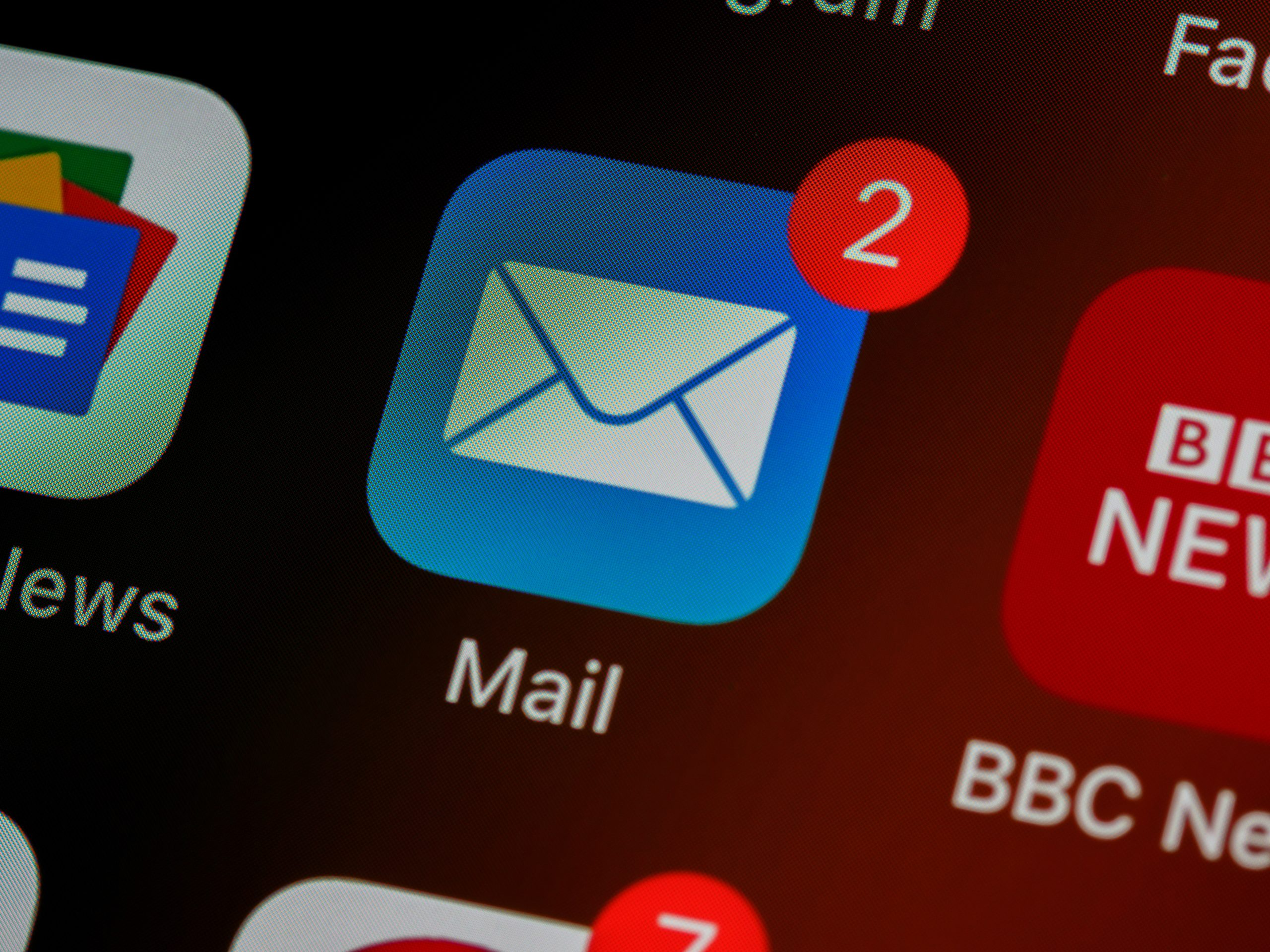 Image of an email icon on a screen.